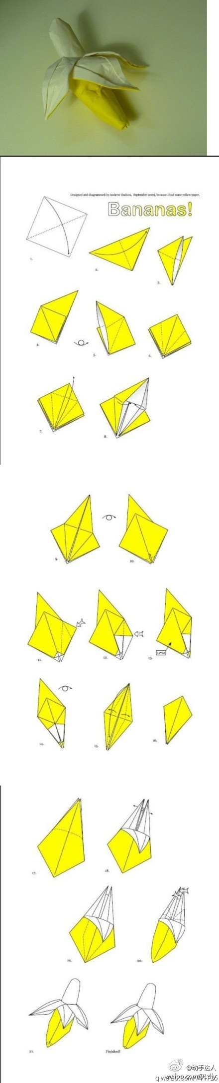 Origami 3D Banana and other fruits to be thrown with flowers down the isle
