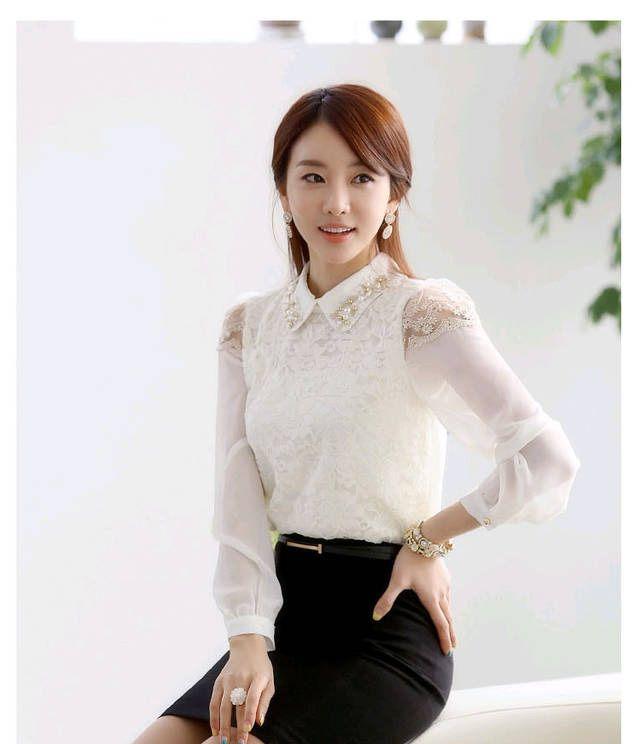 Atasan wanita brokat korea lengan panjang http://www.eveshopashop.com/kemeja-putih-wanita-lengan-panjang-brokat/