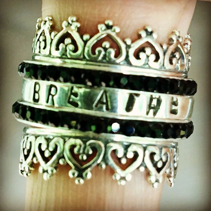 sterling silver customised stack rings / black crystals