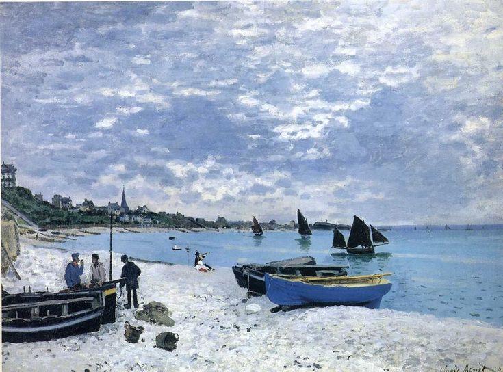 """Der Strand von Sainte-Adresse, 1867 von Claude Monet (1840-1926, France). Im Sommer des Jahres 1867 malte Monet eine Reihe von Werken bei Sainte-Adresse. """"Der Strand von Sainte-Adresse"""" und  """"Die Regatta in Saint-Adresse"""" wurden wahrscheinlich als ein Paar konzipiert."""