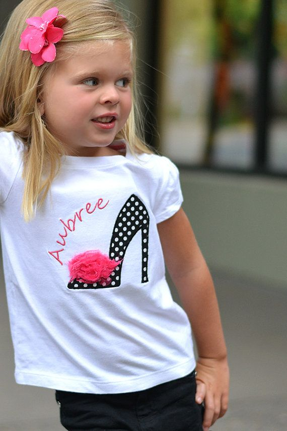 High Heel Barbie Shoe - Girls Applique Shirt - Dress Up Birthday Party - Girls Boutique - Rosette Fluffly Applique - Black & White Polka Dot