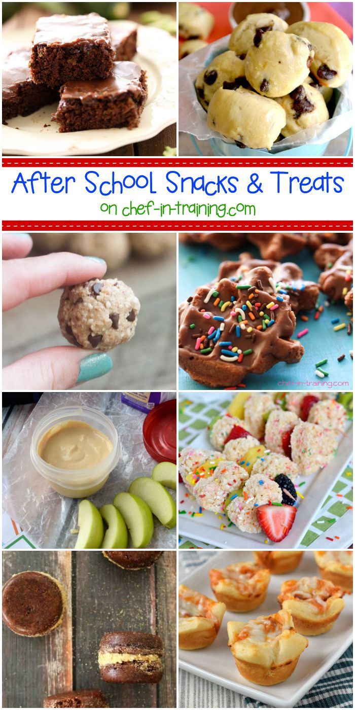 After School Snack Ideas at chef-in-training.com …If you want to surprise your kids with some yummy recipes (or even make just because) this round up has some amazing recipes to choose from!