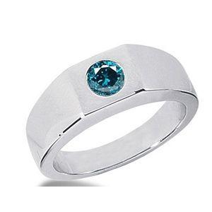 0.50 Karat blauer Diamant Herrenring aus 585er Weißgold