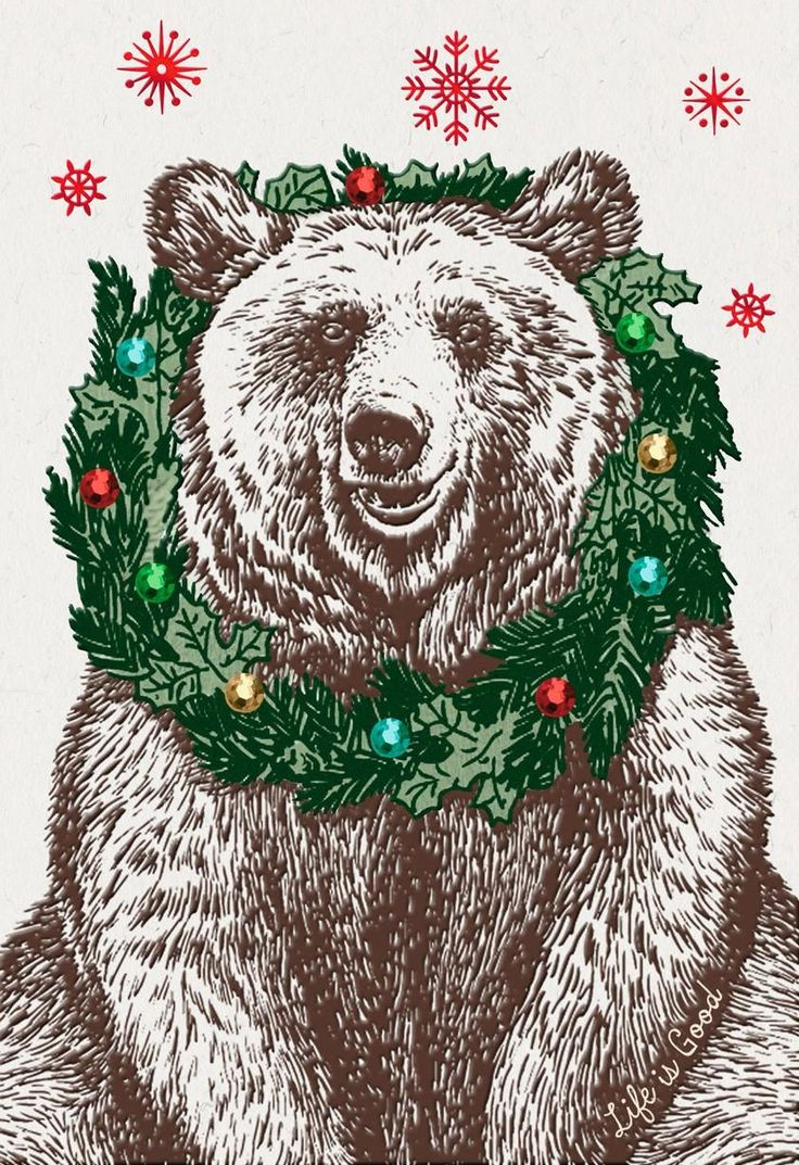 For everyone nice, this holiday card features a happy bear wearing a Christmas wreath around his neck. Red snowflakes fall on a white background.