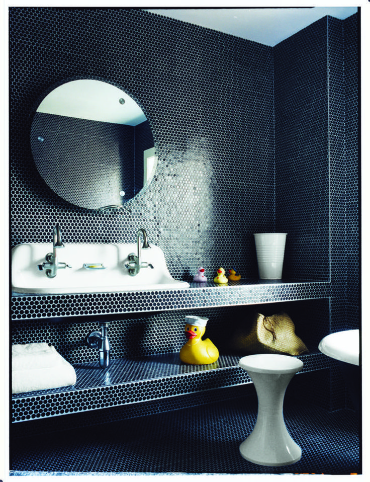 Allover black penny tile