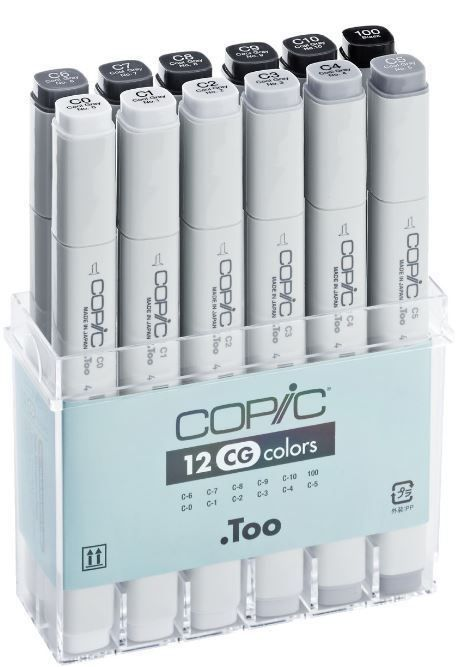 COPIC MARKER PENS - 12 COOL GREY COLOUR SET - GRAPHIC ART MARKERS