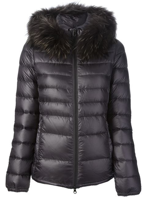 Duvetica 'Nefele Fox' padded winter jacket with raccoon fur hood, from Elite Puerto Banus.
