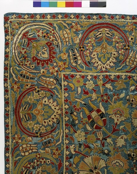 Cover  Place of origin: Turkey  Date:1600-1699  Materials and Techniques: Silk, embroidered with silk in atma with couched single threads; made from widths joined before being embroidered  Museum number:830-1902
