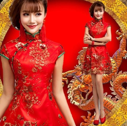 Short-red-dress-Chinese-ancient-dress-Red-short-sleeved-embroidered-gown-F75