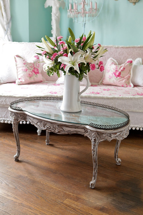 Antique French Coffee Table Gray White Distressed Kidney
