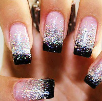 These Pink Black Glitter Nails Look Amazing