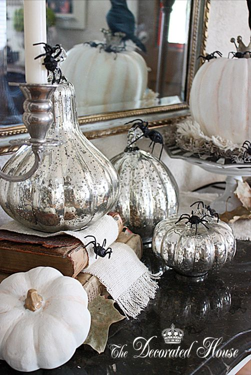 halloween decorating in black white with mercury glass