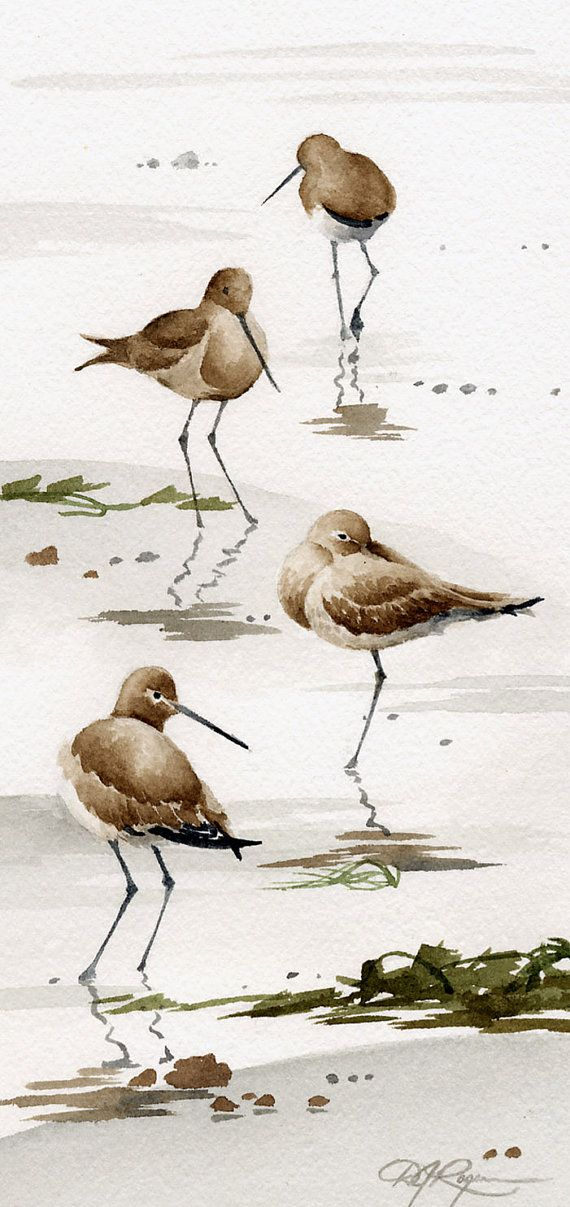 Set of two Sand Pipers Artwork Prints – Watercolor Portray – Signed by Artist DJ Rogers – Wildlife – Wall Decor