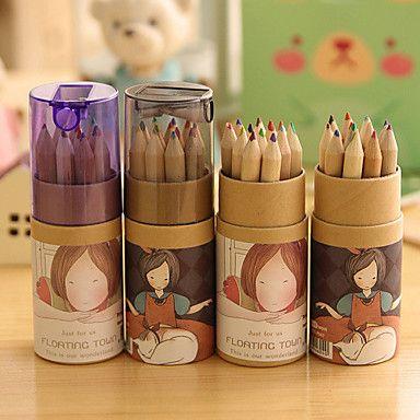 Cartoon Girl Pattern 12 Color Painting Pencil Set(12 PCS/Set) – USD $ 2.89