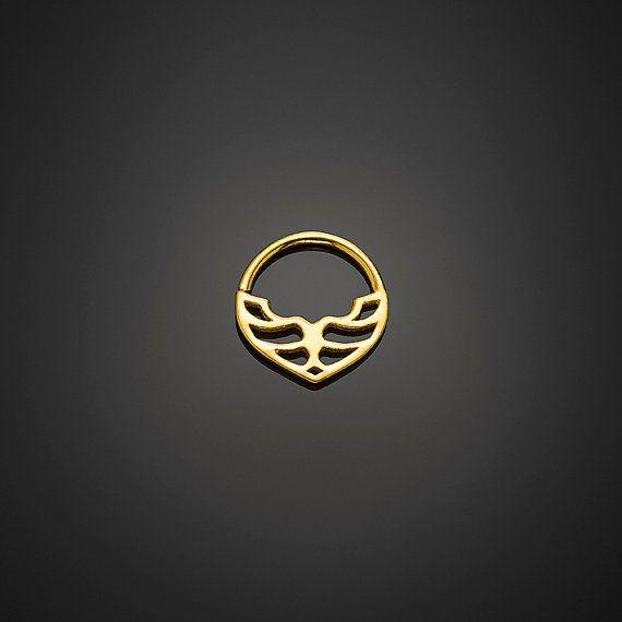 17g Septum anneau nez or bague, bijoux de Septum, Septum or, Septum Tribal, nez Jewelry Ring par NoitaDesigns