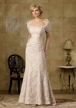 Sheath/ Column Off-the-shoulder Floor-length in Lace Satin Mother of the Bride Dress