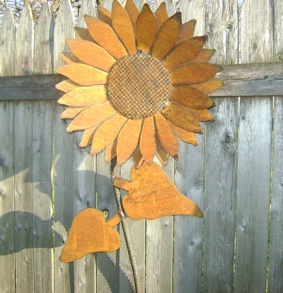 Garden Sunflower Wall Decor : Sunflower metal garden art rusty wall