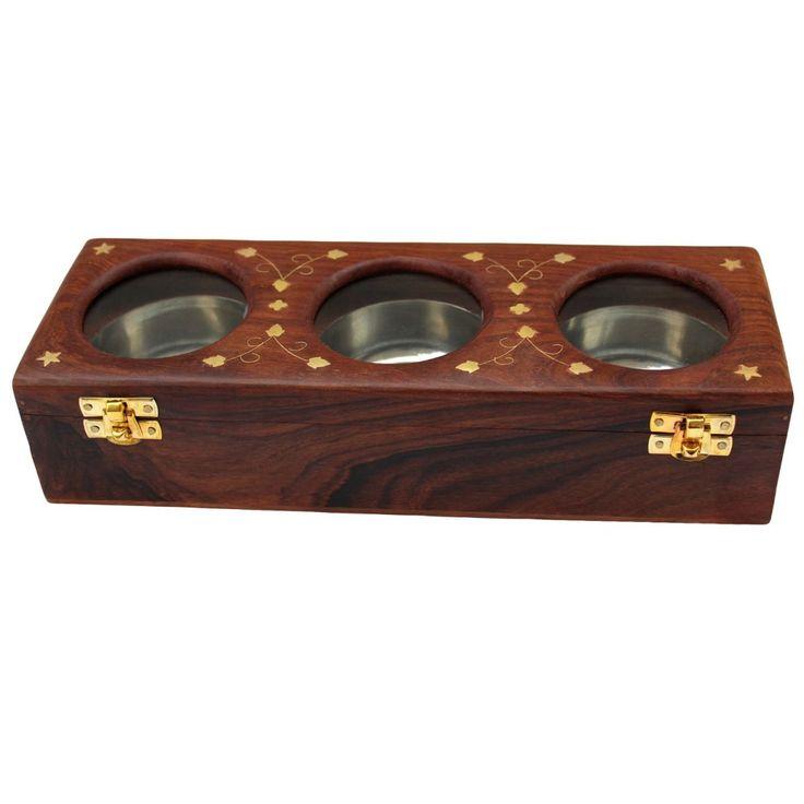Mayur wooden dry fruit box 3 bowls