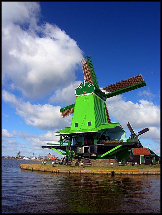 Green windmill Holland