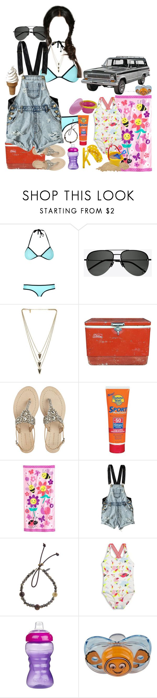 """Day at the Beach"" by werewolf-gurl ❤ liked on Polyvore featuring Triangl, Yves Saint Laurent, Melanie Auld, Coleman, Antik Batik, Banana Boat, Jumping Beans, OneTeaspoon, Catherine Michiels and Heidi Klein"