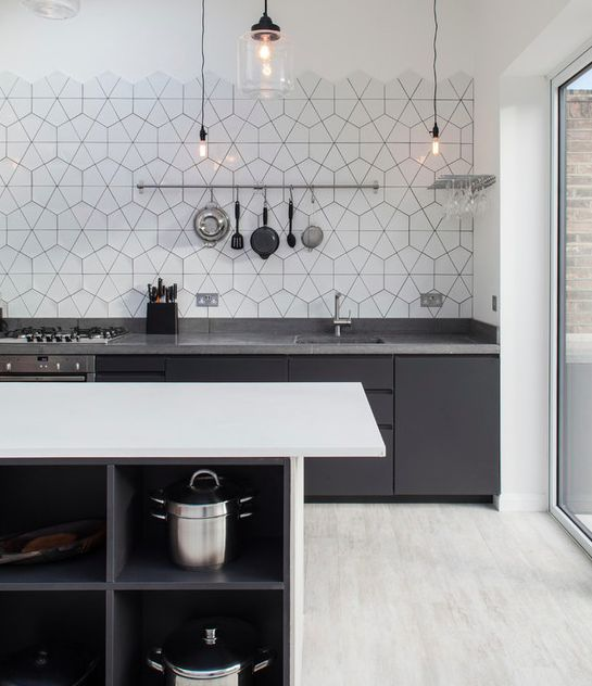 slicing hex tiles for a modern look, like it for the backsplash maybe