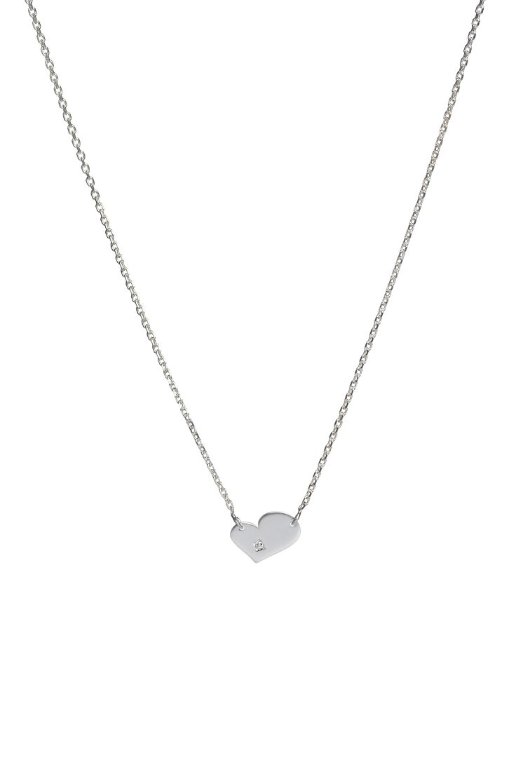 Heart pendant with a diamond, on a fine 14k gold chain. Available in white or yellow gold and multiple chain length options.  Free personalized engraving on the back of the pendants. Shop the collection at www.reena.ro or order directly at reena.orders@gmail.com.