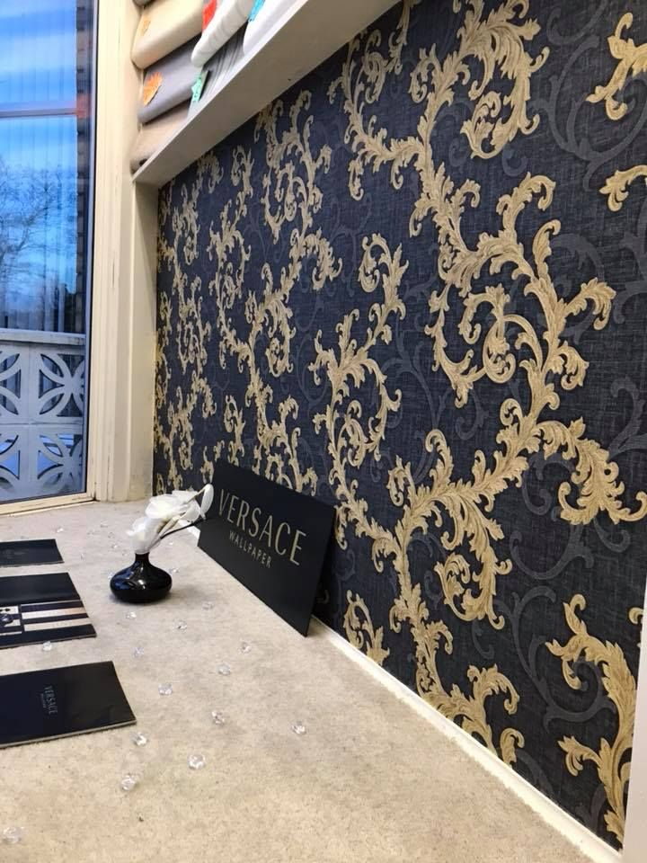 0ab6d5473022 Versace Baroque and Roll Wallpaper in Black Navy Blue and Gold ...