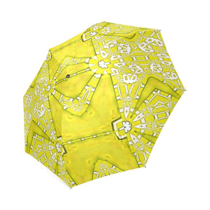 Umbrella with yellow shine-annabellerockz Custom  Auto Foldable Umbrella 01.Into the summer with yellows, fractal pattern by Annabellerockz