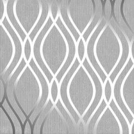 Camden Wave Wallpaper Soft Grey / Silver (H980526)