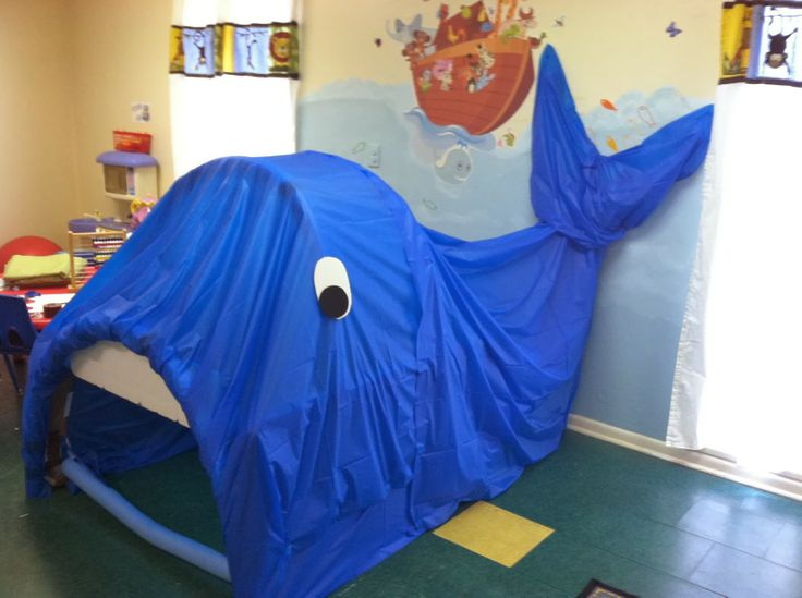 Whale made from tables, pool noodles and plastic tablecloths. Tablecloths are great because you can get them in so many colors and they are cheap. Jonah and the Whale. The kids loved going inside to play!