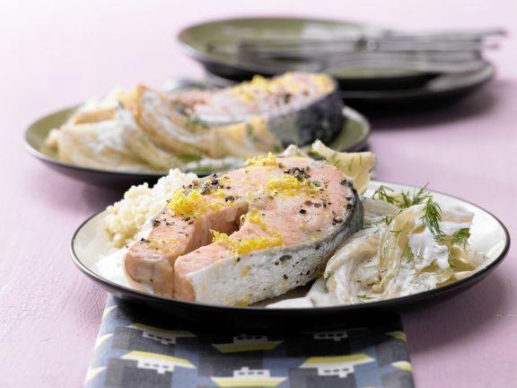 Marinierter Lachs auf Fenchelgemüse: Zart, mild und appetitlich rosa – so mögen auch Kinder Fisch!