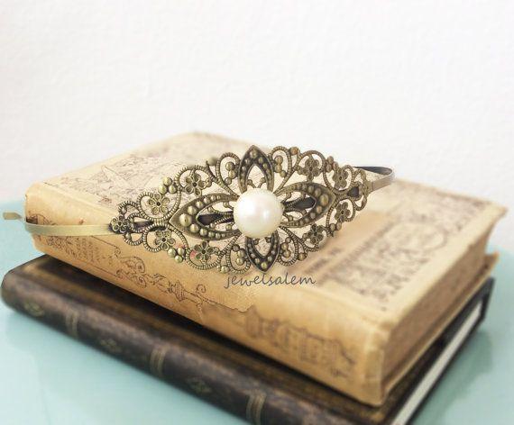 Wedding Headband Bridal Hairband White Pearl Victorian Headpiece Ivory Cream Vintage Style Antique Brass The Great Gatsby Romantic JW H1