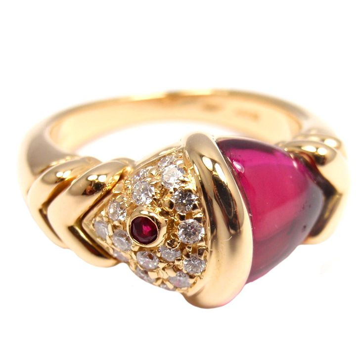 bulgari 18k yellow gold diamond u0026 pink tourmaline naturalia fish ring by bulgari with 16