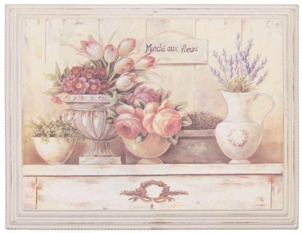"""Cuadro """"Marche aux fleurs"""" ,ideal para la cocina Medidas: 46 * 36 cm"""
