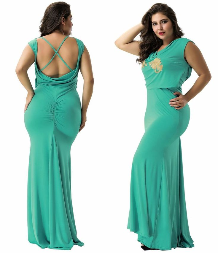 Roughed Women's Summer Spring Evening Party Maxi Green Backless Mermaid SZ M-2XL