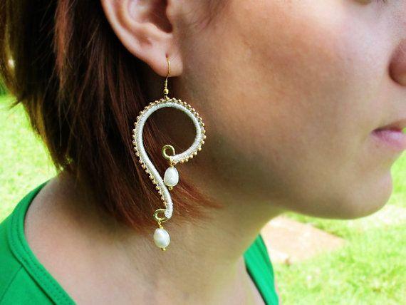 Brass Earrings with Freshwater Pearls by GlassHouseLampwork