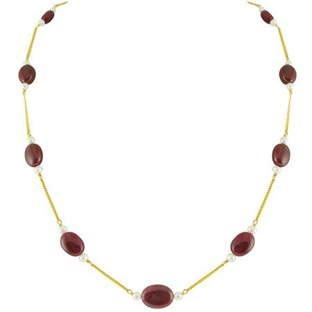 Jpearls Ruby & Pearl Gold Chain