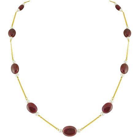 Jpearls Ruby & Pearl Gold Chain