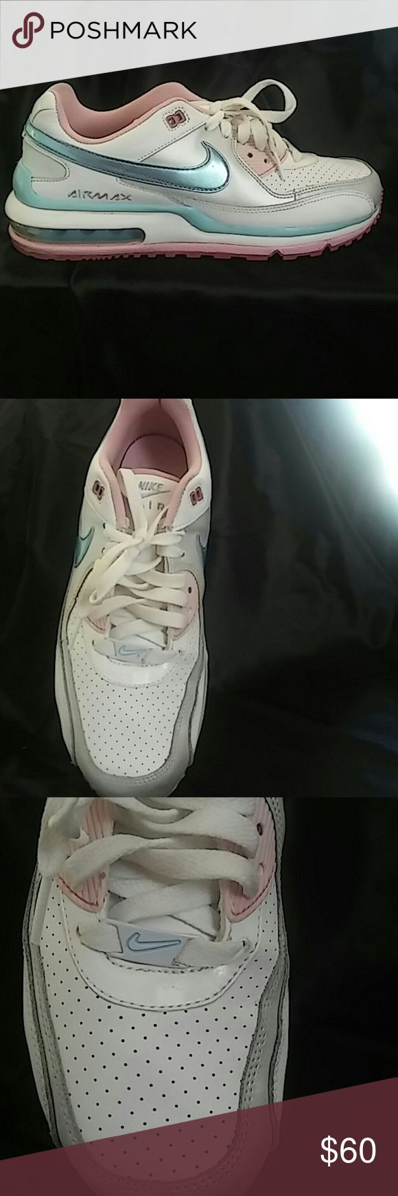 Nike Air Max in Womens Sz 8/Youth Sz 6.5 In this listing is a preowned pair of Air Max Sneakers that I've worn less than 5 times since I really don't get to wear sneakers often. These sneakers are a beautiful pink, light blue, white and silver. These shoe