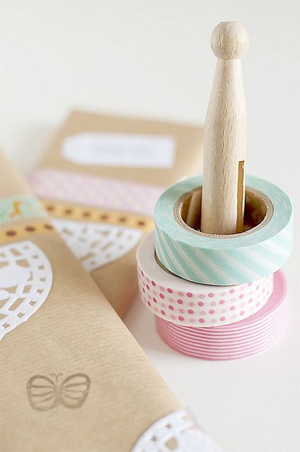 Washi Tape, Doilies and Butterfly Stamp Gift Wrapping 2/2 by aDm (FacilySencillo), via Flickr
