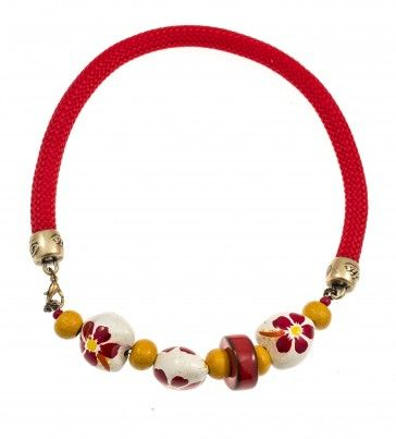 Handmade bronze metal plated necklace with glass stone and red rope, by Art Wear Dimitriadis