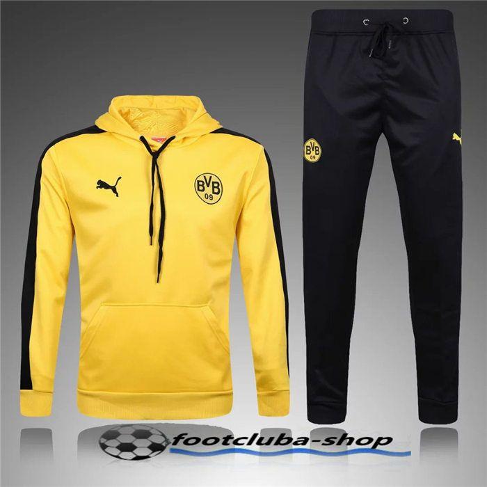 Soldes Sweat Capuche Survetement Dortmund BVB Jaune 2017 Pas cher