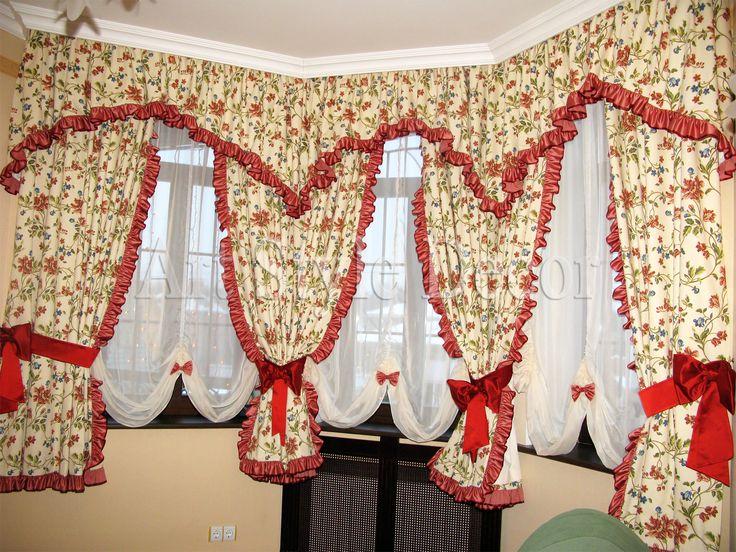 Комплект: шторы для эркера в детской комнате из хлопчатобумажной ткани с оборками, австрийские шторы из вуали, украшенные бантиками, и ламбрекен с оборкой по краю #curtains