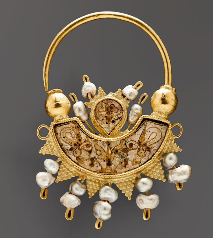 Gold Earring w/ Enamel & Pearls  --  10th Century  --  Historical Museum of Crete