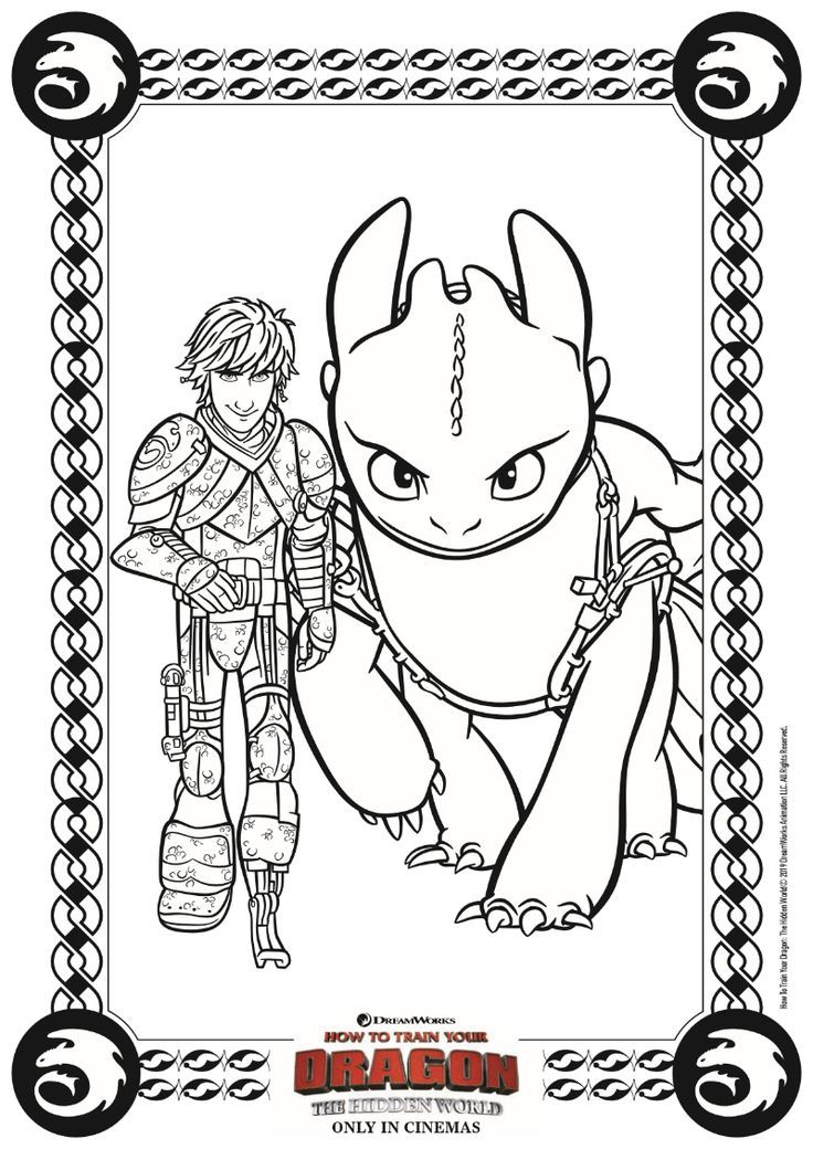 - Hiccup And Toothless Coloring Page From HTTYD 3 Dragon Coloring Page, How  To Train Your Dragon, Cute Toothless