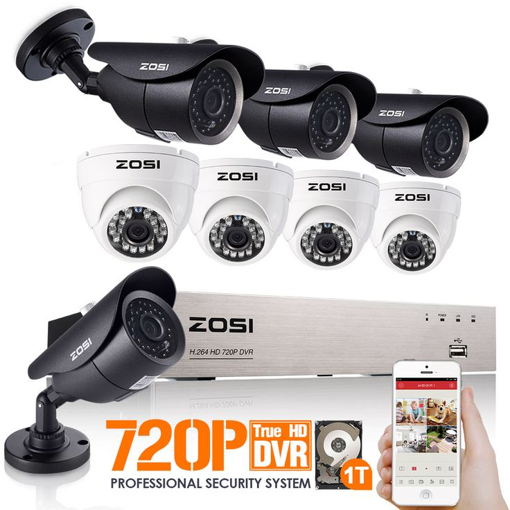 ZOSI 8CH 720P DVR 1500TVL HD Security Camera System with 8 Indoor/Outdoor Waterproof 120ft Night Vision Security Cameras 1TB HDD