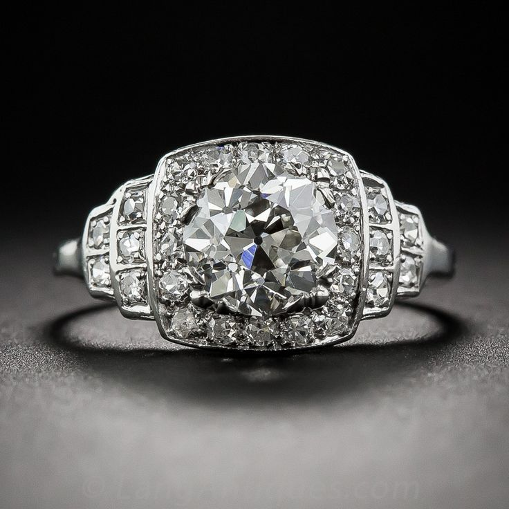 1.42 Carat Art Deco Diamond Engagement Ring