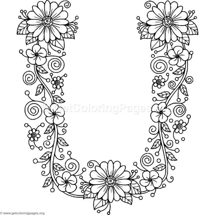 Free To Download Floral Alphabet Letter U Coloring Pages Coloring