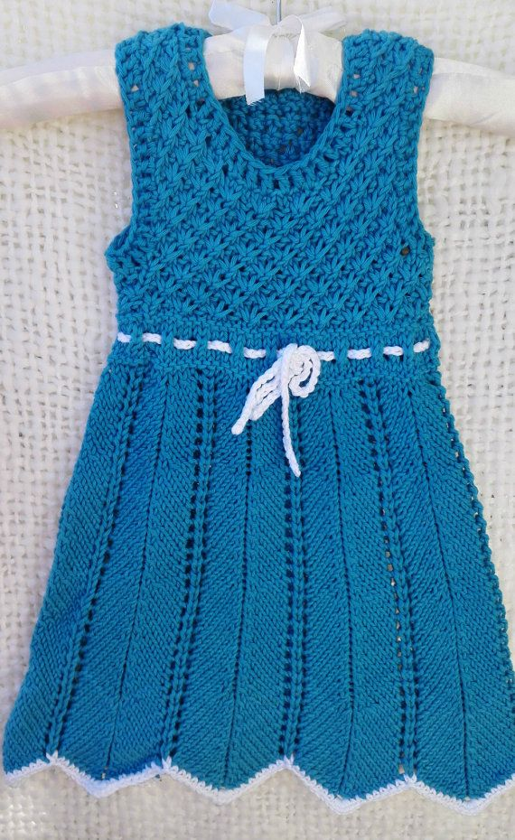 Cotton summer dress for girls handmade knitted. by MadeByKirsti. I want to make a cotton dress someday.