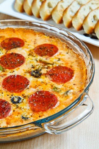 Pizza Dip; really good; ran out of mozzarella, so used sharp cheddar instead.  Cut pepperoni in quarters.